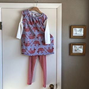 Tea Collection outfit : cardinal dress & leggings